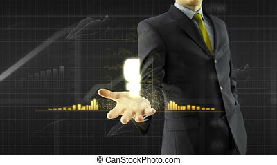 Business man trader hold growing ruble rouble currency on hand with animated grow and graph bars trade concept