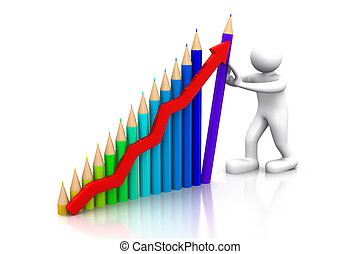 business man hold success business graph