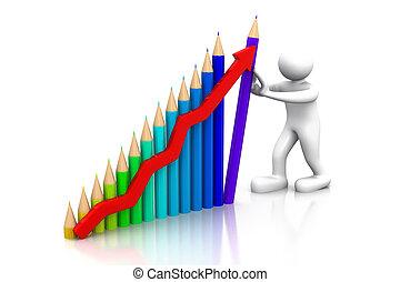 business man hold success business graph