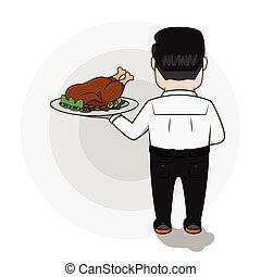 Business man hold the roasted chick
