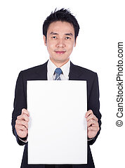 business man holding a blank paper sheet isolated on white