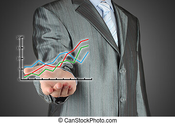 Business man holding a financial graph