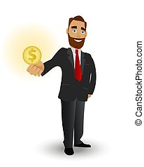 Business man holding a gold coin, a symbol of success in business, strong financial performance and wealth.