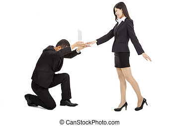 business man holding a laptop for female manager using. isolated