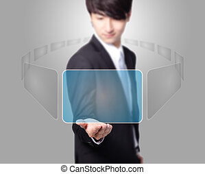 Business man holding a touch screen