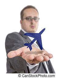 Business man holding aircraft Symbol