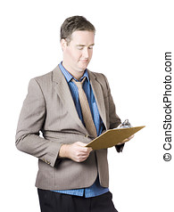 Business man holding audit clip board