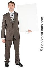 Business man holding blank banner