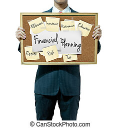 Business man holding board on the background, Financial aspect