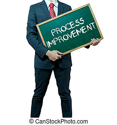 Business man holding board on the background, Process Improvement