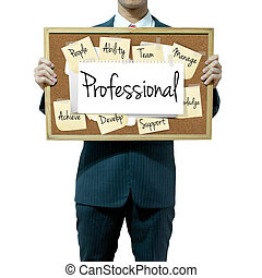 Business man holding board on the background, Professional