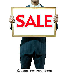 Business man holding board on the background , SALE