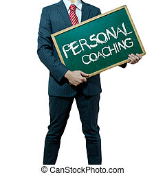 Business man holding board on the background with business word, Career