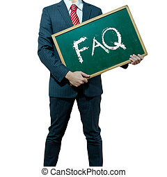 Business man holding board on the background with business word, FAQ