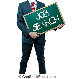 Business man holding board on the background with business word - Job search