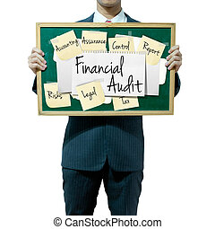 Business man holding board on the background, Financial Audit concept