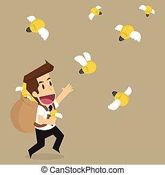business man holding bulb idea that fly, brainstormt