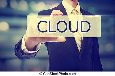 Business man holding Cloud