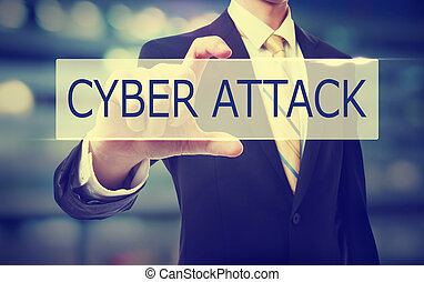 Business man holding Cyber Attack