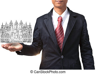 business man holding drawing of modern building