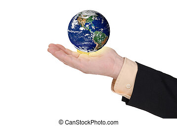Business man holding earth in his hand
