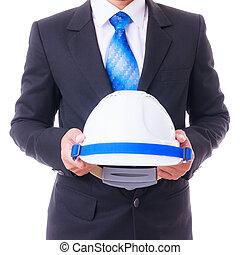business man holding engineer helmet isolated