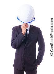business man holding engineer helmet isoleted