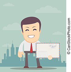 Business man holding envelope