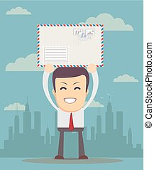 Business man holding envelope
