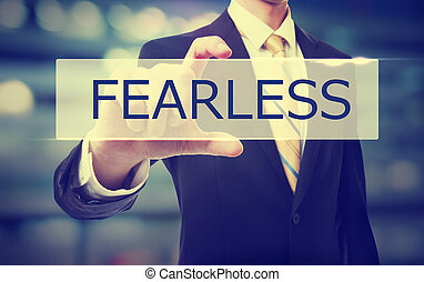 Business man holding Fearless