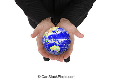 Business Man Holding Globe