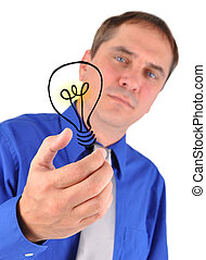 Business Man Holding Idea Light Bulb