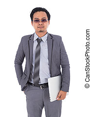 business man holding laptop isolated on white background