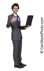 Business Man Holding Laptop Showing Thumb Up Sign