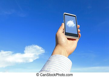 Business man holding mobile phone with cloud