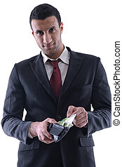 Business man holding money