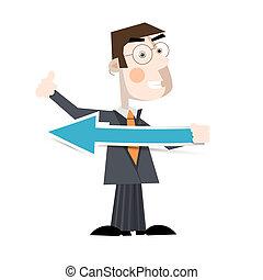 Business Man Holding Paper Arrow Vector Illustration