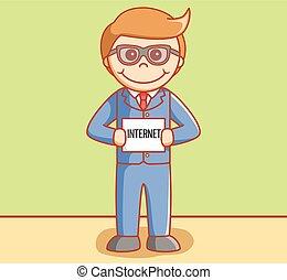 Business man holding paper internet