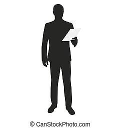 Business man holding paper. Speech, reading