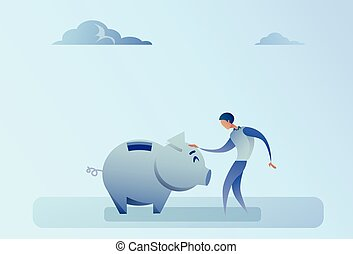 Business Man Holding Piggy Bank Money Savings Concept Flat...