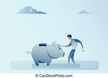 Business Man Holding Piggy Bank Money Savings Concept Flat...