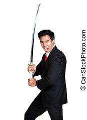 business man holding samurai sword