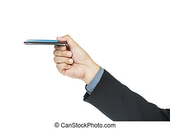 business man holding smart phone