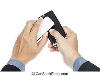 business man holding smartphone as NFC - Near field communication concept
