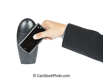 business man holding smartphone as NFC - Near field communication concept