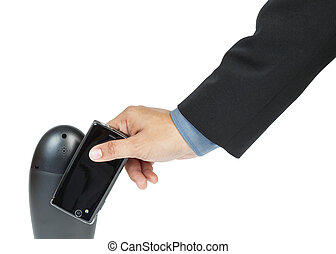 business man holding smartphone as NFC - Near field...