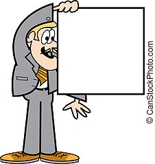 Business man holding square sign - Business man wearing a ...
