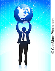 Business man holding the globe background