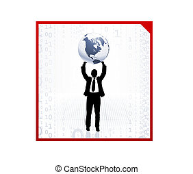 Business man holding the globe