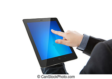 Business man holding the modern digital tablet pc